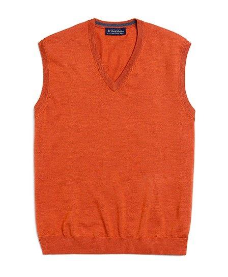 Orange Sweater Vest by Brooks Brothers   Preppy Orange Men's Clothing ...