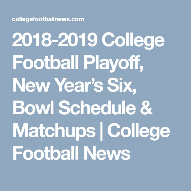 2018-2019 College Football Playoff, New Year's Six, Bowl Schedule & Matchups | College Football News