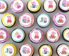"Peppa Pig Mini Edible Cupcake Toppers - 1.1"" - PRE-CUT"