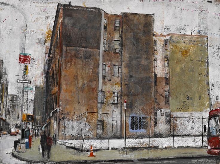 Akash Bhatt's dusty, warm and dignified urban landscapes in oil and collage. This is New York.