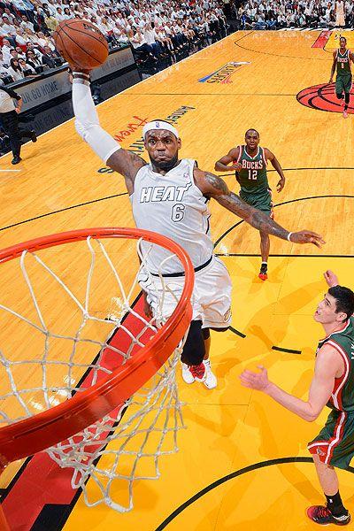 LeBron James & The Heat Dunk Right Through The Bucks In Game 1 Of The 2013 Playoffs.  #LeBron #LeBronJames #KingJames #HeatNation #Heat #Miami #Nike #NBA #Jordan www.stores.ebay.com/G-Sports-Enterprises