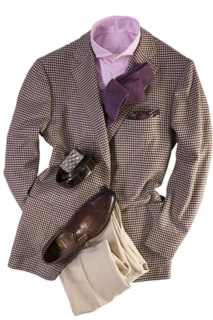 Cesare Attolini Houndstooth Sport Coat- pattern and color combination works
