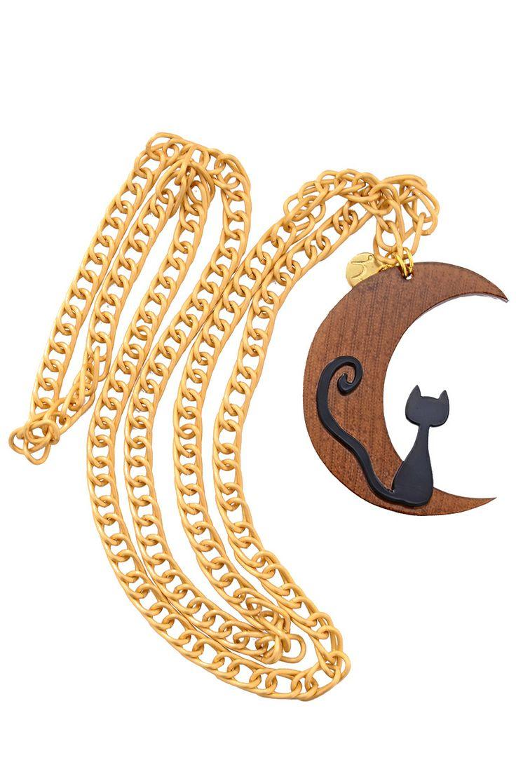 MANCOTÍ  MOONCAT Brown Chain Pendant