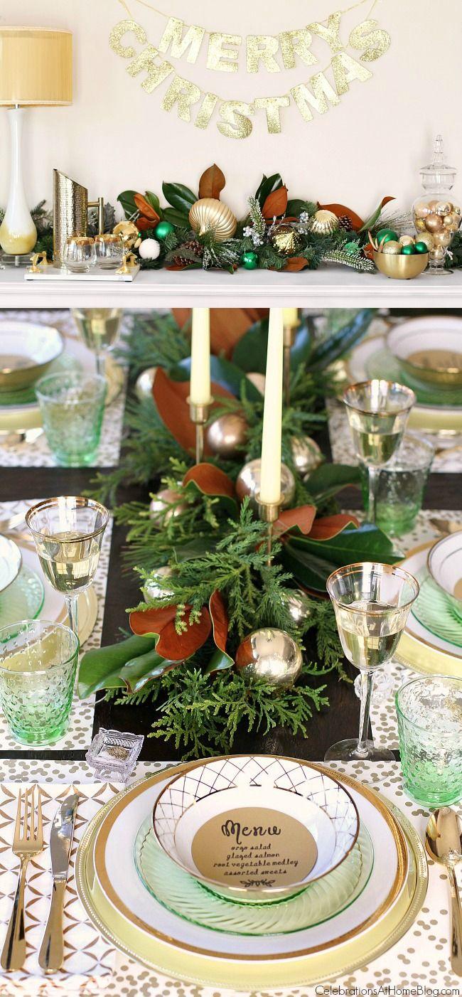 Gold christmas table setting - Green Gold Christmas Table