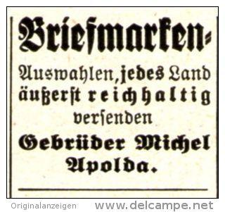Original-Werbung/ Anzeige 1936 - BRIEFMARKEN  / GEBRÜDER MICHEL -  APOLDA - ca. 25 X 20 mm