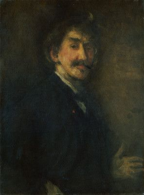 James McNeill Whistler (1834-1903). Self-Portrait in Gold and Brown. Oil on canvas. Gallery label dates it at 1900 but NGA web site notes indicate c. 1896-1898.  In the collection of the National Gallery of Art, Washington, DC. Gift of Edith Stuyvesant Gerry.