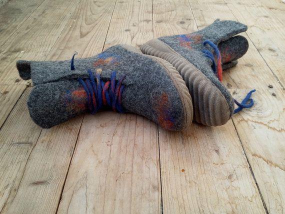 Unique felted shoes Female felt boots 100 % by ShimaFiberArt