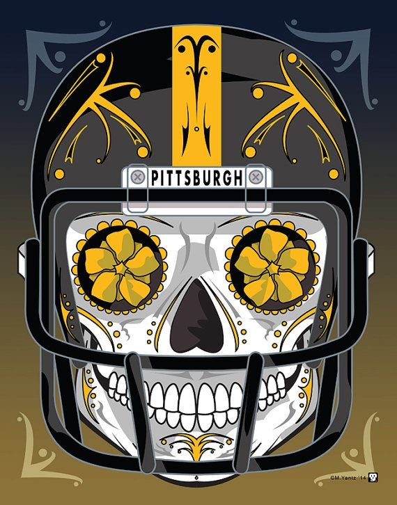 """""""Pittsburgh Steelers"""" Sugar Skull Day of the Dead Calavera Print Inspired by the professional football team"""