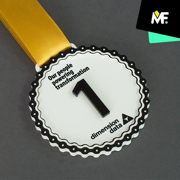 Medal of an original decorative shape prepared for Dimension Data made of metal. Medal with additional convex element made of laminate and plexiglas.  #medals #souvenirs #awards  socialhub.modernforms.pl