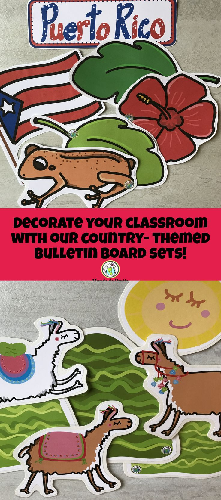 Decorate your Spanish classroom with our Country themed Bulletin Board Kits! Great for all grade levels! Mundo de Pepita, Resources for Teaching Spanish to Children
