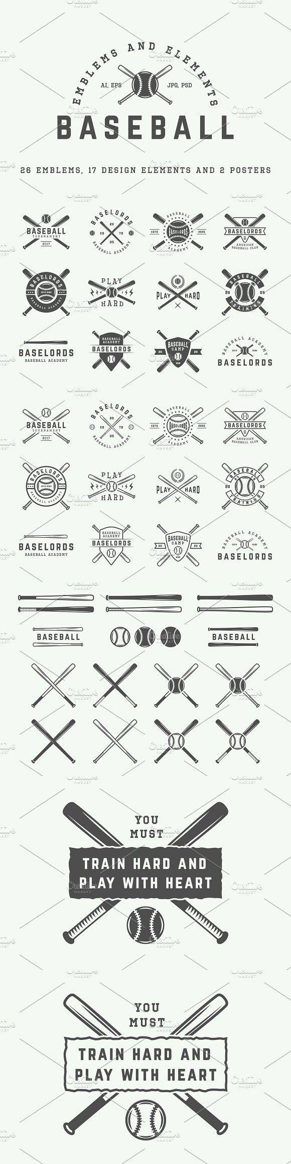 Retro baseball emblems and elements.. Script Fonts