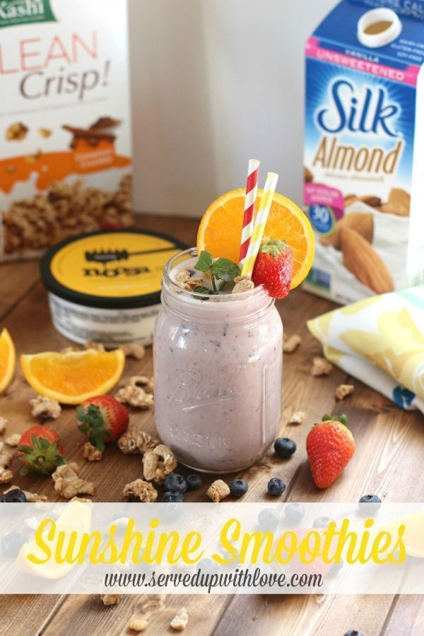 Served Up With Love: Sunshine Smoothies-Packed with natural ingredients, Silk almond milk, Noosa Blueberry Yoghurt, and OJ. The perfect way to rise and shine and start your day. http://www.servedupwithlove.com