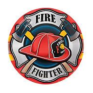 FIREFIGHTER PARTY Fireman Fire Department Lunch Dinner Plates - Pack of 8