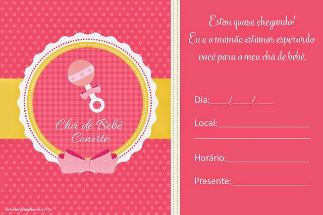 Convites para Chá de Bebê editáveis grátis para baixar, editar e imprimir - Cantinho do blog