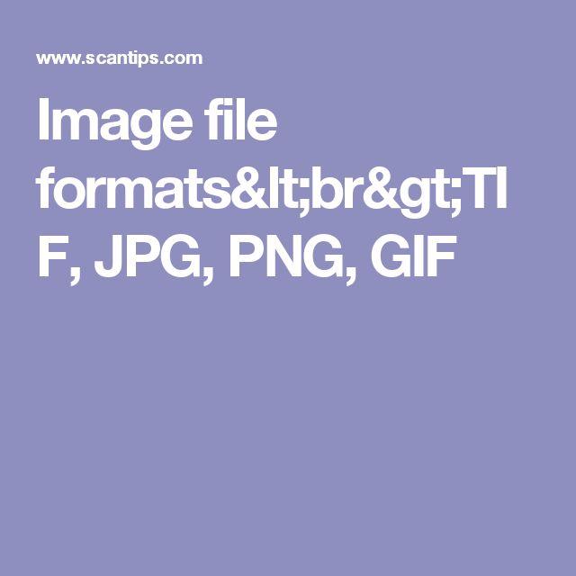 Image file formats<br>TIF, JPG, PNG, GIF
