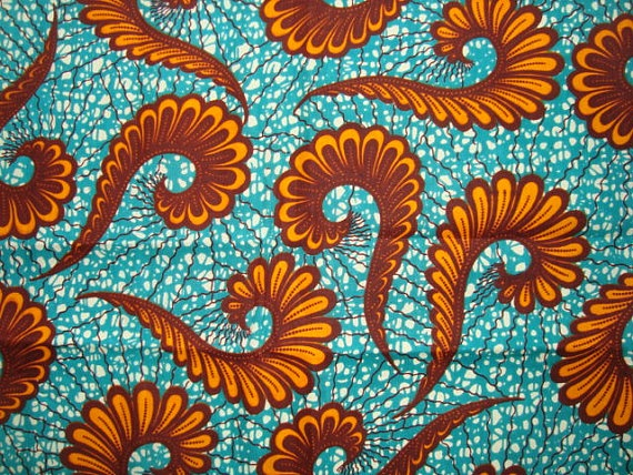 Bright Blue with Orange ferns #african #wax #print #fabric