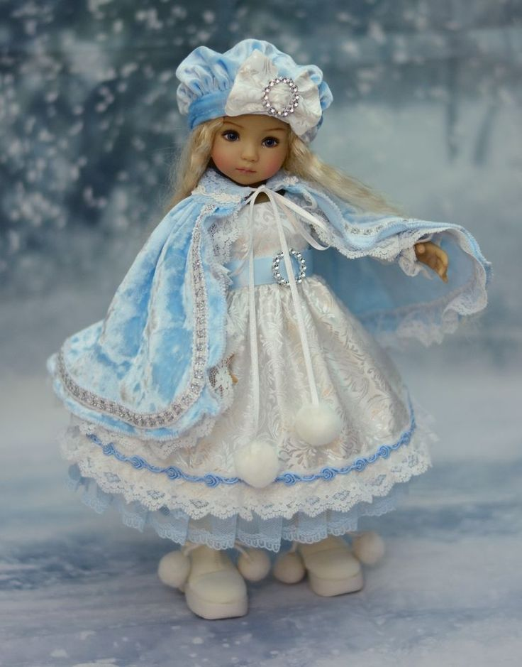 "SOLD - ""Beauty of the Snow"" Dress, Outfit, Clothes for 13"" Dianna Effner Little Darling #LuminariaDesigns"