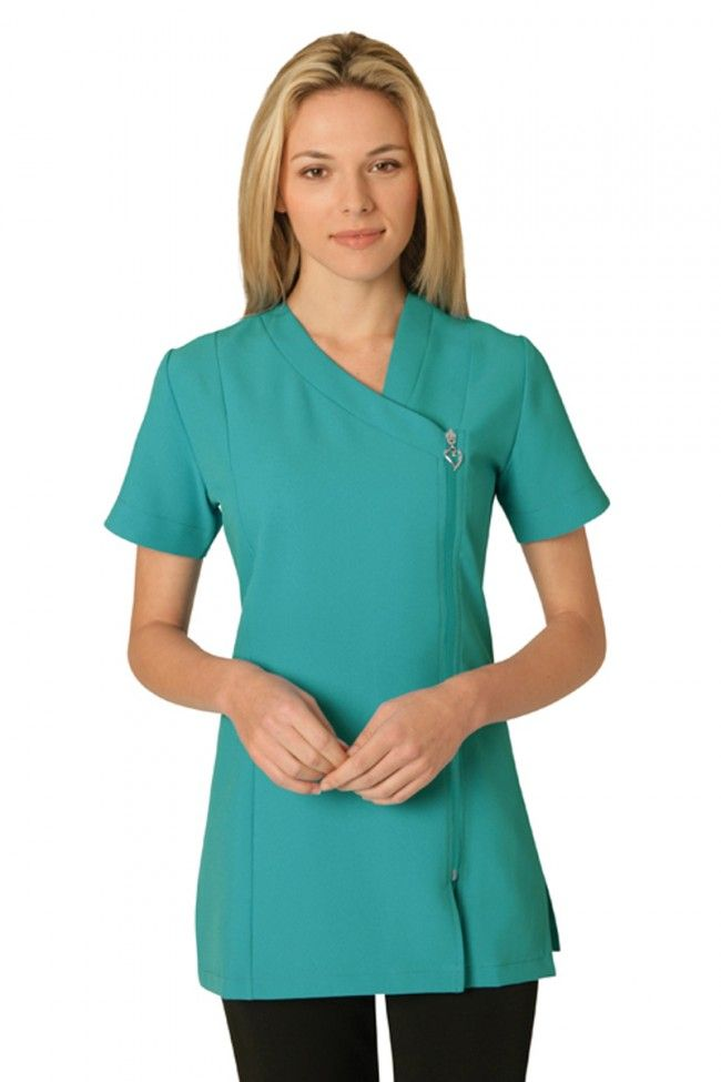 Belle asymmetric tunic in 4 way stretch salon for Spa uniform tunic