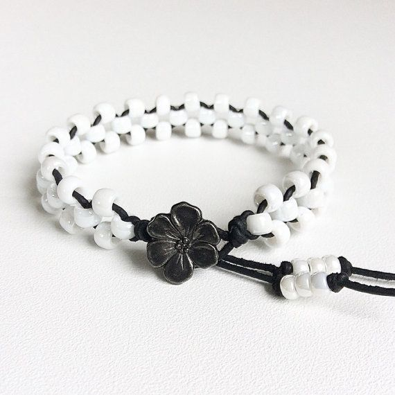 Handmade white beaded bracelet leather and bead by Rubybluejewels