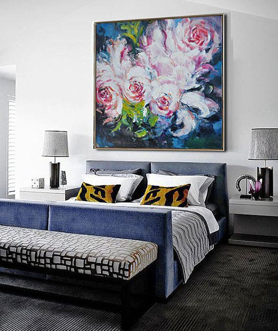 IN STOCK 48x48 Abstract flower Oil Painting On by CZ Art Design