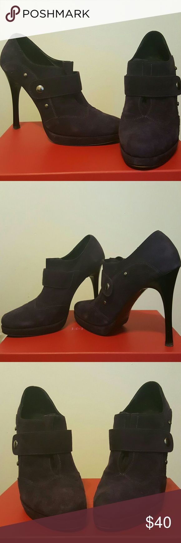 Reposh - Dark purple suede stiletto booties Purple suede booties with black stiletto heels and silver snaps. In original box. Camoscio Viola 392501.  Marked size 40 but I wear a 10 and they were too small so listing as 9.5 Shoes Ankle Boots & Booties