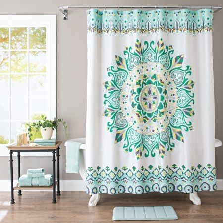 Better Homes And Gardens Medallion Fabric Shower Curtain Green Curtains Walmart