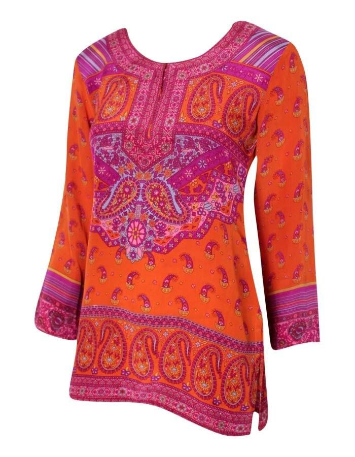 80s BIBA Orange and Pink Paisley Tunic Top Size S