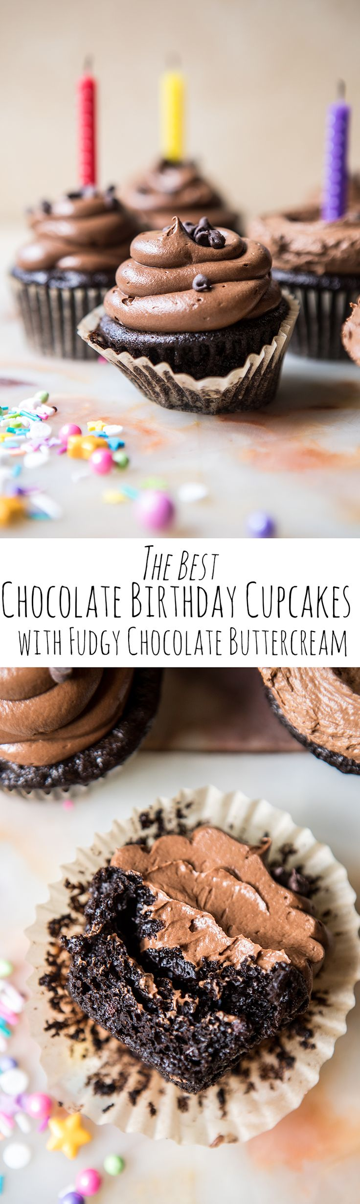 The Best Chocolate Birthday Cupcakes...with Fudgy Chocolate Buttercream | halfbakedharvest.com @hbharvest
