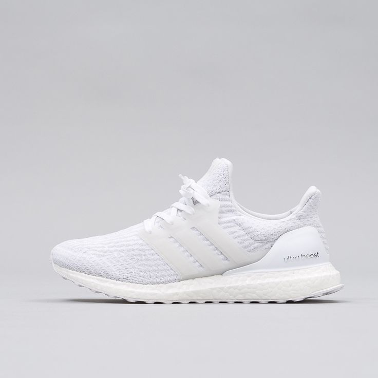 Brand new Ultra Boost 3.0 silhouette in Triple White. Boost sole.  Breathable adidas Primeknit