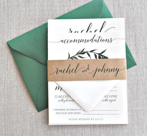 Rachel Watercolor Greenery Wreath Wedding Invitation by lvandy27