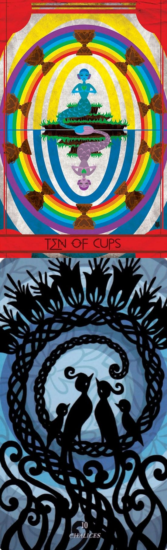 Ten of Cups: happiness and shattered dreams (reverse). Ellis Tarot deck and Silhouette Tarot deck: tarottablecloth, tarot card of the day and free online tarot reading predictions. Best 2018 ritual and tarot cards art. #strength #ritual #trickortreat