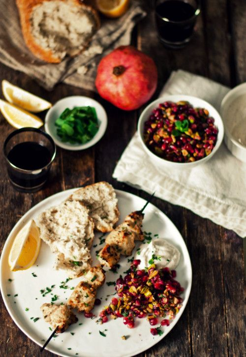 Baharat-spiced chicken kebabs with pomegranate relish.