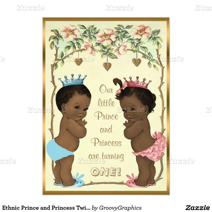 Ethnic Prince And Princess Twins Birthday Invitation