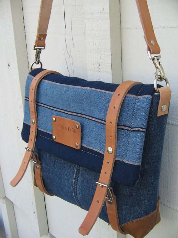 Eco Couture iPad Messenger -personalized Artist travel bag- nautical cross body purse.Indigo blue striped Japanese Kasuri - vintage Levis