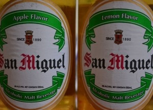 Two bottles of flavored beer. Best Beer in Asia - Beer Heaven in Philippines - San Miguel Apple and Lemon - The perfect match for Filipino food. For full blog on Beers in the Philippines check here: http://live-less-ordinary.com/asia-travel/best-beer-in-asia-philippines-san-miguel