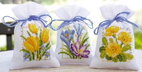 Spring Flower Bags Cross Stitch Kit | sewandso