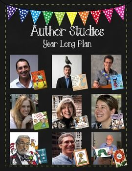 Spotlight 1 author per month. This pack comes with a portrait page, a bio page with fun facts, and a page that shows a variety of the author's books and describes common themes throughout them. 1) David Shannon (No David!) 2) Mo Willems (Don't Let the Pigeon Drive the Bus) 3) Eric Litwin (Pete the Cat) 4) Laura Numeroff (If You Give a Mouse a Cookie) 5) Doreen Cronin (Click, Clack, Moo Cows that Type) 6) Jan Brett (The MItten) 7) Dr. Seuss 8) Kevin Henkes (Chrysanthemum) 9) Eric Carle