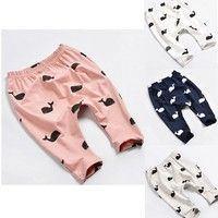 Wish | Lovely Baby Kids Girls Boys Clothing Whale Printing 100% Cotton Pants Trousers Leggings Newborn-3Y