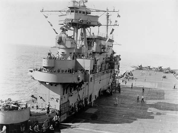 Island structure of Yorktown Class USS Enterprise (CV-6). The Yorktown class was a class of three aircraft carriers (Enterprise CV-6, along with Yorktown CV-5 and Hornet CV-8) completed shortly before World War II. They bore the brunt of early action in that war, and USS Enterprise, the sole survivor of the class, became the most decorated ship in the history of the U.S. Navy.