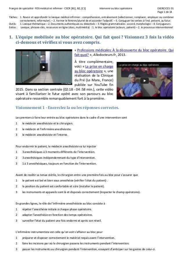 Français de spécialité · FOS médical et infirmier · CECR [B1], B2, [C1] Intervenir au bloc opératoire EXERCICES 01  Page 1 ...
