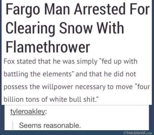 Flamethrowers: for when you don't possess enough willpower to shovel snow.