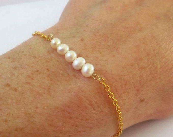 Pulsera de perlas reales de Dama de honor, oro pulsera oro perla perla delicada pulsera de perlas, delicada pulsera oro, pulsera, pulsera delicada perla