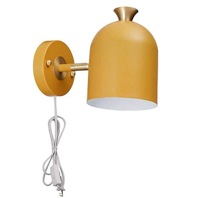 Adjustable Mid Century Modern Wall Sconce Plug In On Off Switch Yellow Minimalist Lamp Ul Listed Sconces Mid Century Modern Walls Plug In Wall Sconce