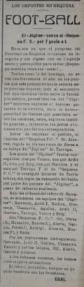 """El documento del mes se trata de un ejemplar del semanario """"La Voz de Requena"""" de 27 de mayo de 1923 donde podemos leer unas de las primeras noticias referentes al deporte del fútbol en Requena."""