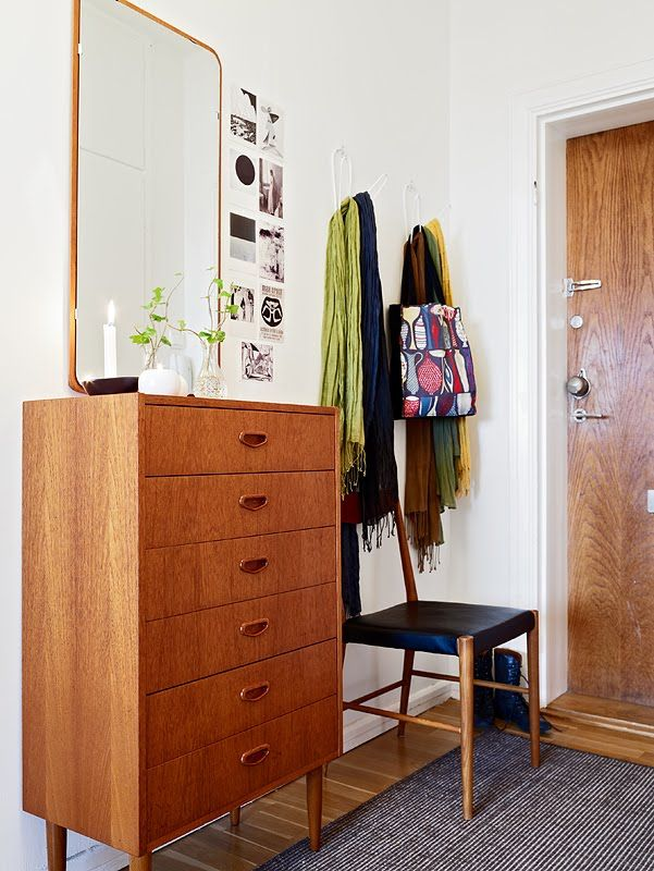 thin and small dresser is very convenient in entryway if space allows.