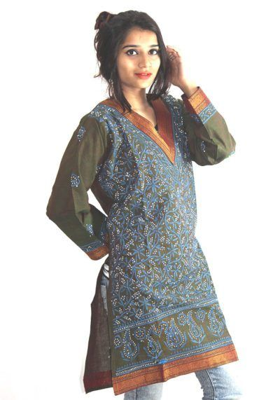 Womens South Cotton Embroidered Chikan Kurti Green And Blue Colored