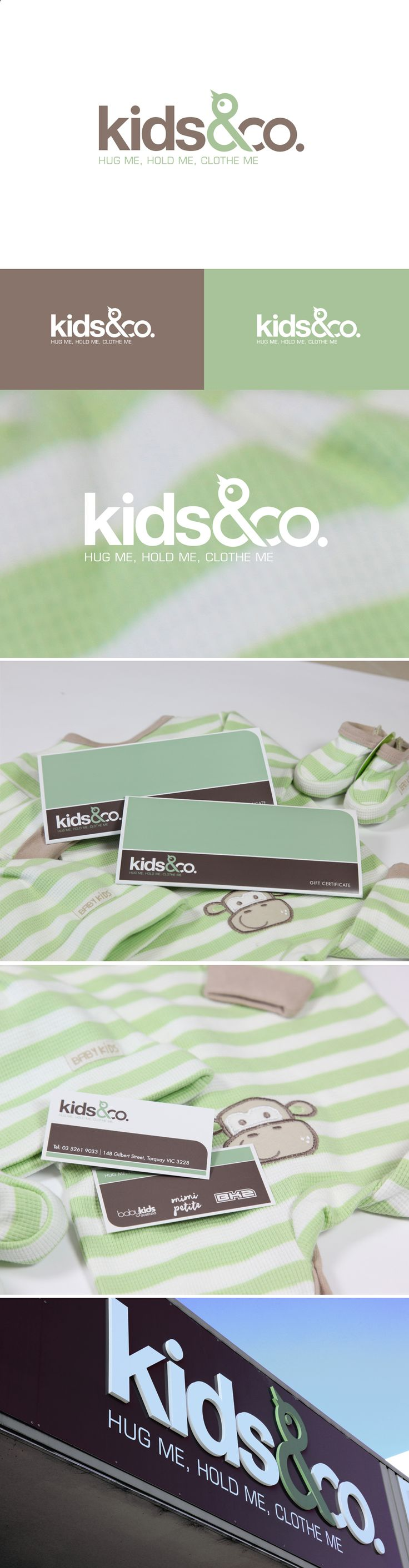 Kids & Co. rebrand included logo, stationery, gift voucher and signage.