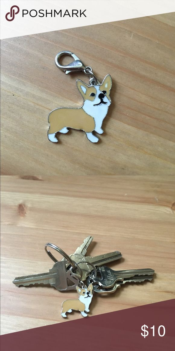 """Mini Corgi dog enamel keychain charm like an enamel pin, but for your keychain instead :) brand new metal keychain charm, unused (clipped to keys for scale) but could also be clipped to backpacks, etc. This charm is about 1"""" by 1"""".   Price is firm here but listed for $8 with free shipping on MERCARl. Check my other listings for pug, Frenchie, Schnauzer, and more designs. Accessories Key & Card Holders"""
