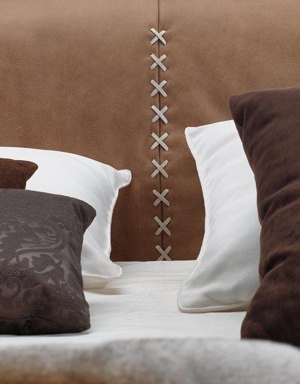 Handmade BOTERO bed headboar  leather interlaced @ZaniSalotti