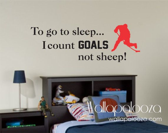 To go to sleep i count goals not sheep,  Boy's Hockey Decal - Nursery Wall Decal - Hockey Wall Decal on Etsy, $27.94